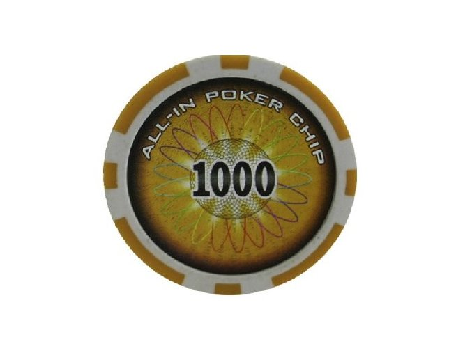 Poker chip ALL IN hodnota 1000