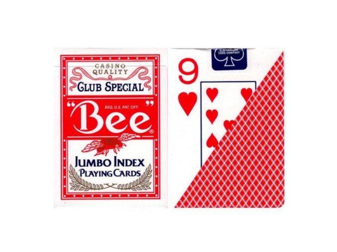 Pokrové hracie karty Bee červené veľký index