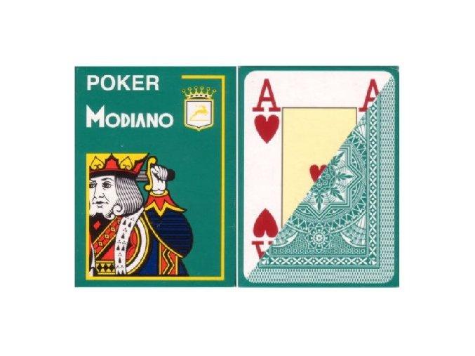 Pokrové hracie karty Modiano tmavo zelené veľký index