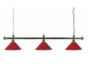 Biliardová lampa DE LUXE 3 tienidla červená